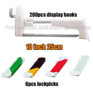 25cm Longitud de la pantalla de seguridad Slatwall ganchos, ganchos de tablero de pegado 200pcs + 6 magnético (Lockpicks)