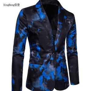 XingDeng Casual Blazer Desen Baskılı Blaser Homens Erkek Blazers Kişilik Ceketler Mavi Men kırmızı Moda Slim Fit Ceket m-3XL