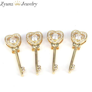 10PCS, Micro Pave CZ Heart Key Pendant Charms DIY Jewelry Finding Supplies
