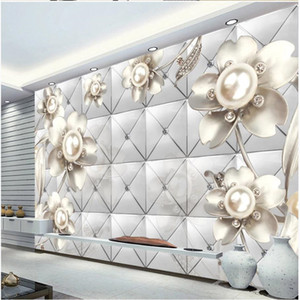 New product diamond pearl jewelry wallpapers soft bag background wall 3d murals wallpaper for living room