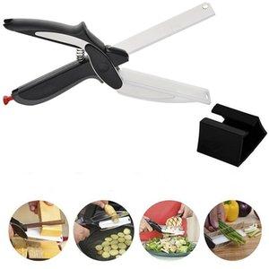 고품질 스마트 영리한 커터 2 1 커팅 보드 유틸리티 스테인레스 스틸 야채 요리사 칼 휴대용 부엌 식품 가위