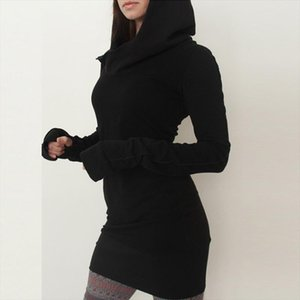 Women Autumn Dress Hoodies Pullover Long Sleeves Slim Fit Black Minimalist Dresses SER88 Drop Shipping Good Quality