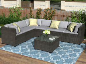 ACCIÓN US 3-5 días Envío 7 piezas Conversación Patio de muebles al aire libre seccional con amortiguadores suaves SH000027DAA