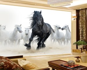 3d Wallpaper Wall Promotion Healthy Eight Horses Galloping Auspicious Figure Simple Advanced 3d Silk Wallpaper