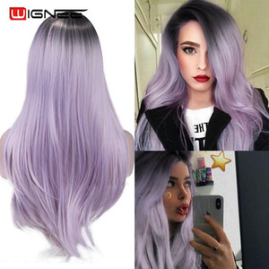Wignee Long Straight Hair Middle Part Synthetic Wig For Women Ombre Purple Natural Hair Glueless Daily Cosplay Female Hair Wigs