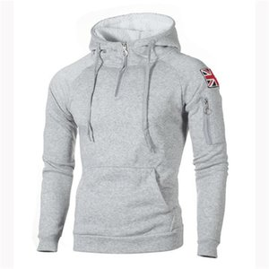 Mens конструктора British-Flag пуловер ватки с капюшоном Hoddies с длинным рукавом сплошной цвет Homme Одежда Мода Zipper Повседневная одежда
