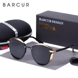 BARCUR Moda polarizada Mulheres Sunglasses Redonda Sun vidro Ladies lunette de soleil femme