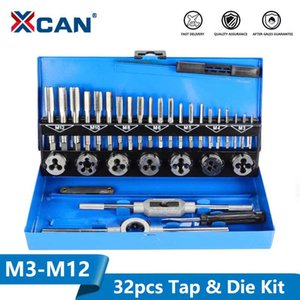 XCAN 32pc M3-M12 Metric Tap e set Die Ferramentas Tapping Mão rosca Tap Die Set Chave