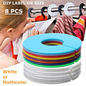 8Pcs White Multicolor Plastic Clothing Round Rack Ring Hangers Size Dividers Garment Tags Size Marking Ring fits Round Or Square