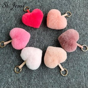 Fur Keychain Fluffy Real Fur Heart Keyrings For Women's Charm Bag Holder Car Trinkets Accessories Pendant Chains