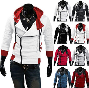 Assassino Cosplay alla moda di Assassins Creed con cappuccio da uomo con cappuccio Creed Raffreddare cappotto sottile rivestimento del costume
