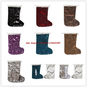 New sublimation sequins christmas stocking christmas decoration santa claus socks hot transfer printing blank consumables material