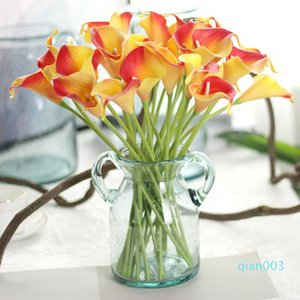 인공 꽃 PU 리얼 터치 미니 칼라 백합 꽃 호텔 칼라 릴리 장식 부케 웨딩 장식 13 개 색상 LQPYW1069