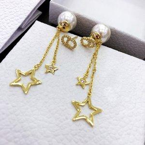 2020 New CD letter rhinestone Pearl star tassel earrings female temperament internet red earrings