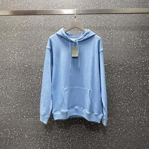 Moda Erkek Kapüşonlular Erkekler Kadınlar Şık Mavi Ceket Ünlü Erkek Yüksek Kalite Dalga şerit Baskı Tişörtü XS-L