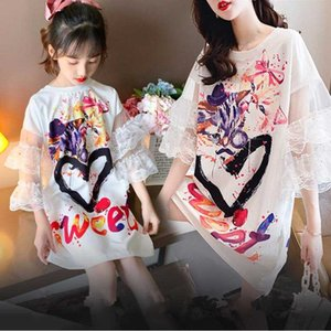 Lantern Sleeve Mommy and Me Baby Kids Dresses for Girls Mother Daughter Pattern Print Dress New Family Matching Clothes Outfits