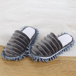 1 Pair Home Detachable Sole Plus Velvet Lazy Mop Slippers Thickened Dust Remove Floor Cleaning Erase Stains Scratchproof Warm