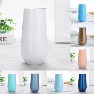 Mode 20 Farbe täglicher Bedarf Edelstahl mit Abdeckung Wärmedämmung Sektglas 6 Unzen Vakuum-Isolations-Schalen ZJ0065