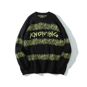 Original Brief drucken Striped Color Match Pullover Männer und Frauen O Ansatz Aufmaß Pullover Pullover Street Sweater