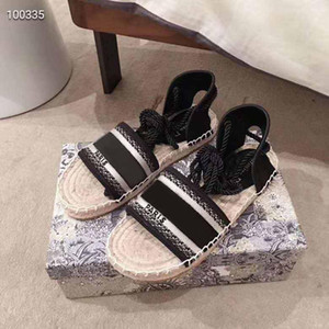 women summer black beige Canvas sandals size strap 35-41 platform flat leather shoes luxury sandals with box size 35-41 women fashion shoes