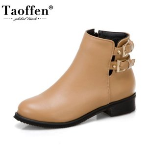 Taoffen Ankle Boots For Women Round Toe Low Heel Zipper Buckle Decoration Shoes Solid Color Outdoor Footwear Plus Size 32-43