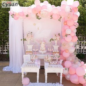 웨딩 생일 베이비 샤워 파티 장식에 대한 Cyuan 113Pcs 풍선 화환 핑크 화이트 파스텔 파티 풍선 아치 장식 중앙에있는 장식물