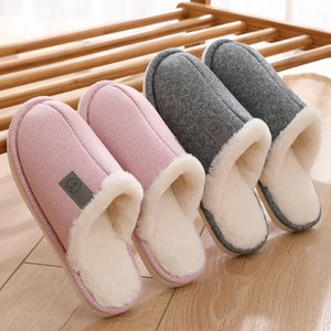 Women's Slippers Winter Warm Home Shoes Fur Slides Men Indoor Slippers Cotton Comfortable Bedroom Shoes For Couple Size 38-47