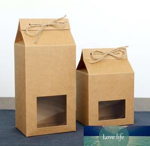 Tè imballaggi di cartone Kraft Paper Bag, Clear Box Finestra per il biscotto della torta Food Storage Sollevarsi carta che imballano sacchetto SN336