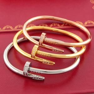 Couple mode Nail Bracelet Inlay diamant titane vis en acier Nail Bracelet Femmes Hommes Bijoux Saint Valentin cadeau avec Box Set