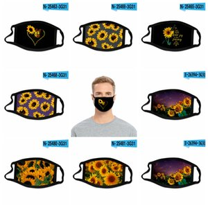 24style Sunflower Mask 3D Digital Print Face masks Elastic Fabric Cloth Mouth Mask Reusable Anti Haze Dustproof Cover Mascarilla GGA3688