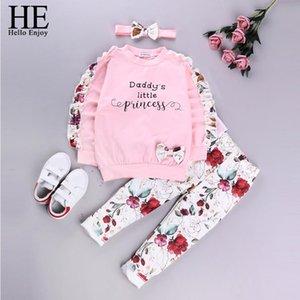 HE Hola Disfrute del otoño bebés de sistemas de la ropa bebé de los pantalones de manga larga carta Bow Top + printed + Hairband 3PC ropa infantil para niños