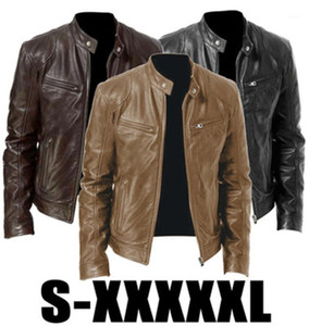Zipper Outerwear Designer Male Stand-up Collar Slim Coats Man PU Leather Jacket Fashion Autumn Motorcycle Leather Jacket Fit Coat Casual