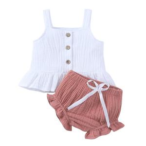 Baby-Kleidung 2pcs Ärmel Top + kurze Hose Cotton Sommer gekräuselter gestreiftes Baby Neugeborenes Baby-Kleidung Set Outfits