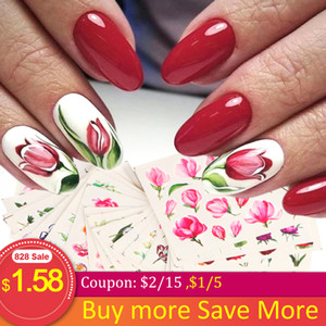 24pcs Set Nail Stickers Flowers Butterfy Full Cover Polish Water Decal Foil Sliders Nail Art Manicure Decorations NFSTZ922-957