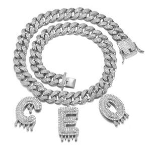 A-Z اسم مخصص رسالة قلادة مع 12MM 18INCH سلسلة بلينغ CZ مثلج خارج الكوبية قلادة الشرير مجوهرات هدية