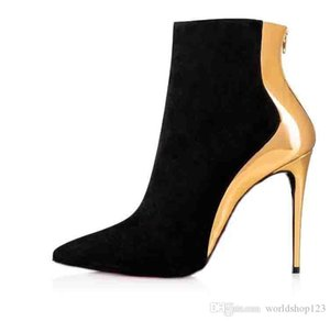 Black Genuine Leather Women Red Bottom Boots Ankle Boot For Women High Heels Party Dress Red Soles Heels Shoes Size 35-42