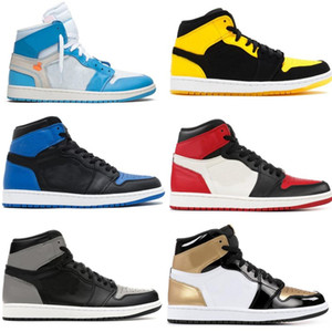 1 generación de calzado deportivo de alta calidad de baloncesto de ocio negro del dedo del pie roja conjunta de oro negro de Yin Yang pato mandarín gris bl seda sombra negro