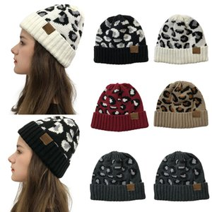 Hot-selling C label in Europe and America, women's autumn and winter models, leopard print curling, warm earmuffs, empty top knitted ponytai