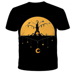 Modelo de la camiseta Occidente tendencia de la moda 3D Digital camiseta de manga corta Diseñador Masculino redondo flojo ocasional del cuello en camiseta Hombre de Halloween