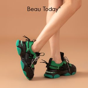 BeauToday Chunky Sneakers Women Mesh Split Leather Mixed Color Platform Lace-Up Trainers Ladies Casual Shoes Handmade 29384
