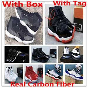 fibre de carbone réel 11 Jubilé 25e anniversaire 11s Concord Bred Space Jam 45 chaussures de basket-ball xi chapeau et robe Gym rouges Formateurs Chicago