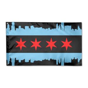Chicago City Flag 3x5ft Druck Polyester Außen oder Indoor-Club Digitaldruck Banner und Fahnen Großhandel