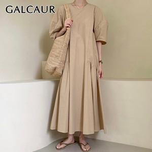 GALCAUR koreanischen Kleid-Frauen O Ansatz Puff Short Sleeve mit Rüschen besetzt lose beiläufige Maxikleider Weiblich 2020 Sommer Minimalist Mode