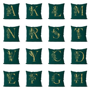 Atrovirens Ev Koltuk Sandalye Dekoratif Yastık kılıfı Set için Yastık Kılıfı 26 İngiliz Altın Harf Yastık Örtüleri atın