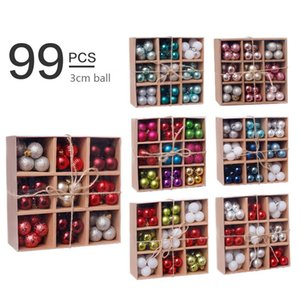 99pcs / lotto Christmas Balls ornamenti 3cm Xmas Tree palla appesa Oro Rosa Champagne Red Metallic Christmas Balls Decor EWE671