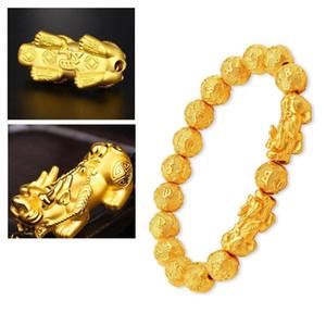 Gold Beads Bracelet Pixiu Feng Shui Bracelet Gold Color Buddha Good Luck Wealth Bracelets for Women Men Jewelry