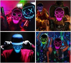Máscaras de Halloween divertida LED Máscaras Máscaras del partido claros para los hombres adultos cráneo esquelético Disfraces Cosplay horror fiesta de Navidad al por mayor de la máscara