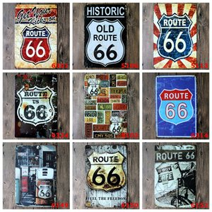 Bar Metal Tin Sign Route 66 Metal Poster Vintage Craft Art Sticker Iron Painting Home Restaurant Decoration Pub Signs Wall Decor YFA2467