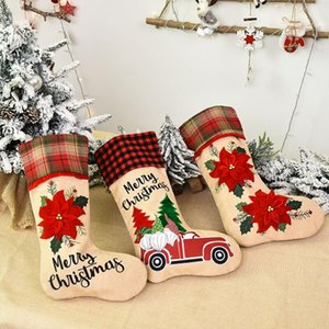 Creative Santa Claus Christmas Socks Cartoon Cute Candy Gift Bags Personality Christmas Tree Pendant Festive Party Supplies AHE3134