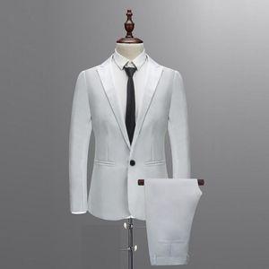 Abiti da uomo Blazer Bianco Bianco Formale Custom Blazer Stuxedo Casual Men Business Ultima cena di moda Prom 3 pezzi Blazer Vest Pantaloni